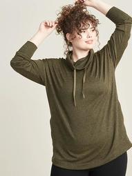 Sweater-Knit Plus-Size Mock-Neck Tunic Sweatshirt