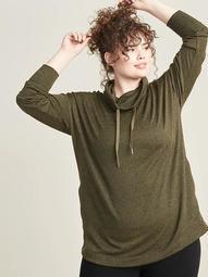 Sweater-Knit Plus-Size Mock-Neck Tunic Sweatshirt