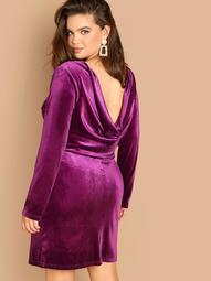 Plus Drape Back Solid Velvet Dress