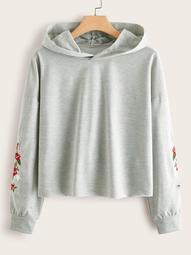 Plus Rose Embroidery Hooded Sweatshirt