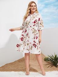 Plus Button Front Floral Print Ruffle Hem Dress