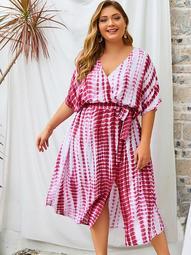 Plus Tie Dye Split Side Belted Dress