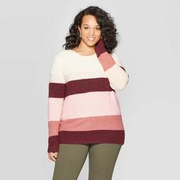 Women's Plus Size Striped Crewneck Pullover Sweater - Ava & Viv™ Pink