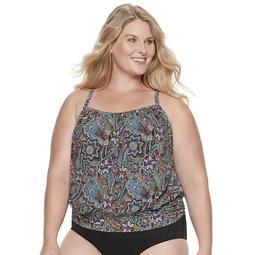 Plus Size A Shore Fit Tummy Slimming Racerback Blouson Tankini Top