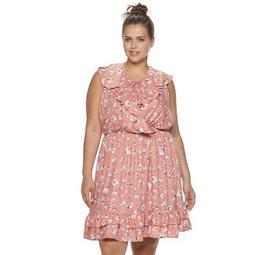 Juniors' Plus Size American Rag Surplice Ruffle Dress