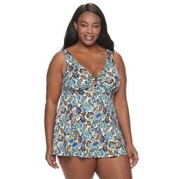 Plus Size A Shore Fit Print Hip Minimizer One-Piece Swim Dress