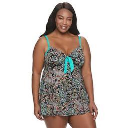 Plus Size A Shore Fit Paisley Hip Minimizer Tie-Front Swim Dress