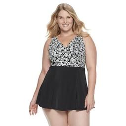 Plus Size A Shore Fit Hip Minimizer Bellisima Wrap Swim Dress