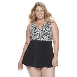 Plus Size A Shore Fit Hip Minimizer Bellisima Wrap Swim Dress