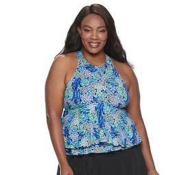 Plus Size A Shore Fit Tummy Slimming Babydoll Tankini Top