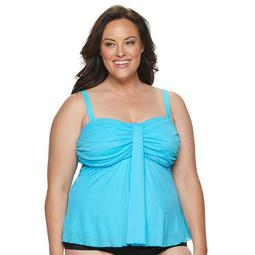 Plus Size A Shore Fit Tummy Slimmer Solid Waterfall Top