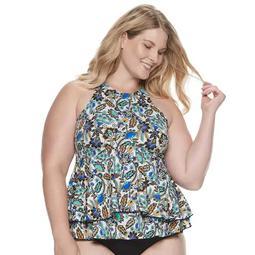 Plus Size A Shore Fit Hip Minimizer Babydoll Tankini Top