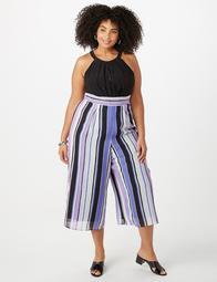 Plus Size Striped Chiffon Jumpsuit