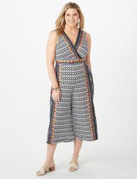 Plus Size Printed Wrap Jumpsuit