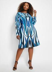 Geo Fit & Flare Dress