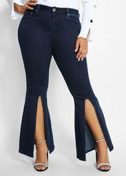 Flared Split Front Jean