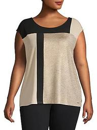 Plus Asymmetrical Colorblock Panel Top