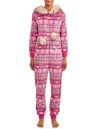 Holiday Time Womens' and Womens' Plus Size Faux Fur Trim Union Suit