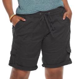 Juniors' Plus Size Unionbay Stretch Lightweight Twill Drawstring Bermuda Shorts