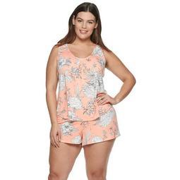 Plus Size Women's Apt. 9® Large Flower Print 2-Piece Tank & Short Set