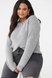 Plus Size Faux Pearl-Trim Sweater