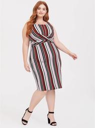 Multi Stripe Jersey Twist Front Dress
