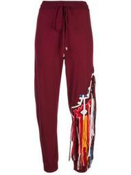 fringe embellished knitted trousers