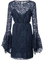 lace pattern flared design dress