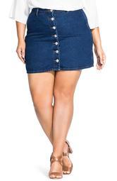 Button Up Denim Miniskirt