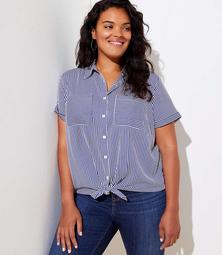 LOFT Plus Striped Short Sleeve Shirt