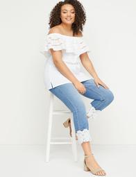 High-Rise Straight Crop Jean - Lace Cuff
