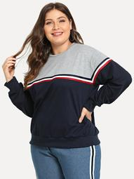 Plus Color Block Sweatshirt