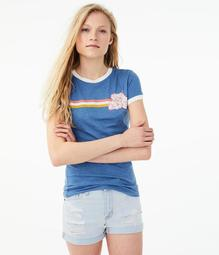 Free State Floral Stripe Ringer Graphic Tee