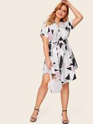 Plus Geo Print Curved Hem Dress