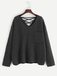 Plus Pocket Patched Lace-up Back Sweater