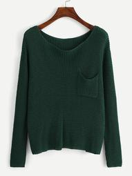 Plus Pocket Pocket Waffle Knit Sweater