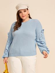 Plus Ruffle Trim Drop Shoulder Sweater