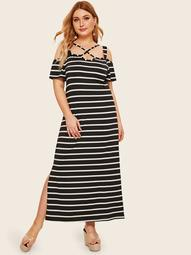 Plus Striped Criss Cross Split Side Dress
