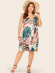 Plus Palm Tree Print Midi Cami Dress