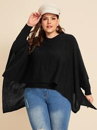 Plus Solid 2 In I Cape Sweater