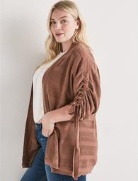 Striped Cinched Sleeve Cardigan